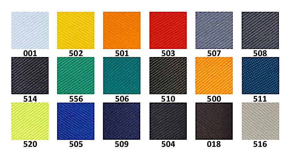 Цветове на плат Орбита хидрофобиран; Colours of workwear fabric Orbita waterproof